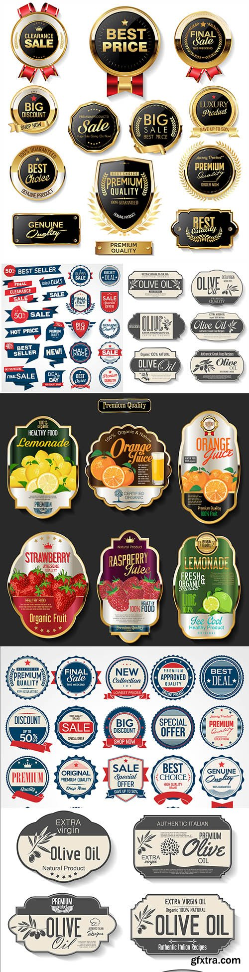 Premium quality gold badges and labels collection 35