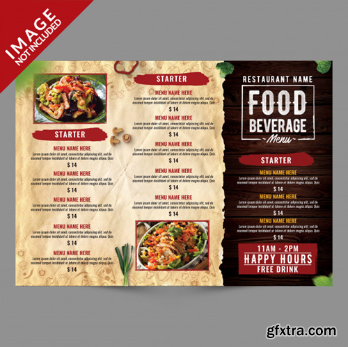 Food and beverage menu trifold brochure template Premium Psd