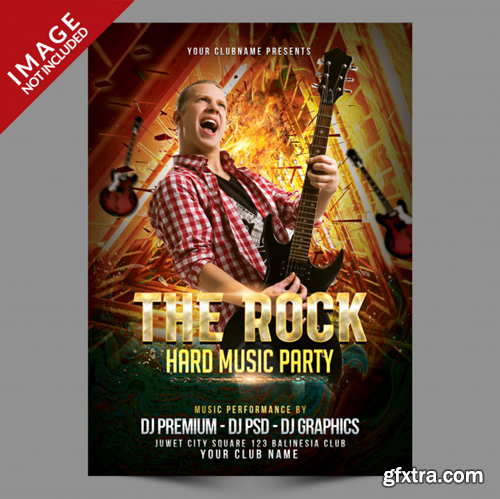 The rock music party event poster Premium Psd