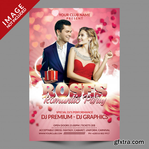 Roses romantic party flyer template Premium Psd