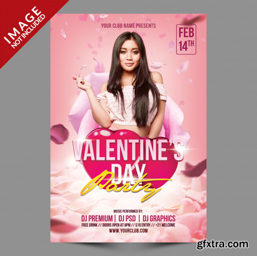 Valentine\'s day party psd flyer template Premium Psd