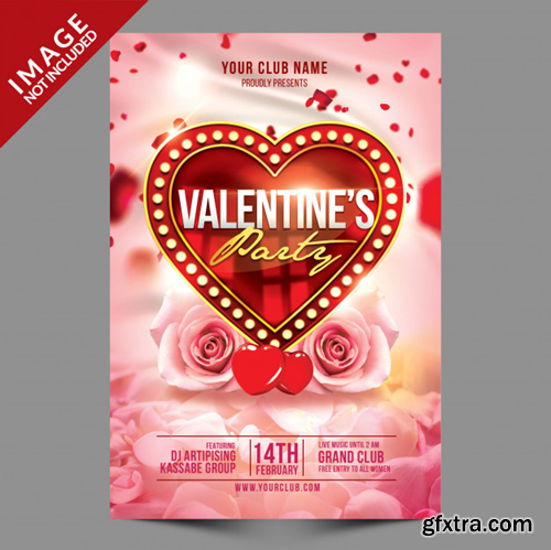 Valentines party flyer psd template Premium Psd
