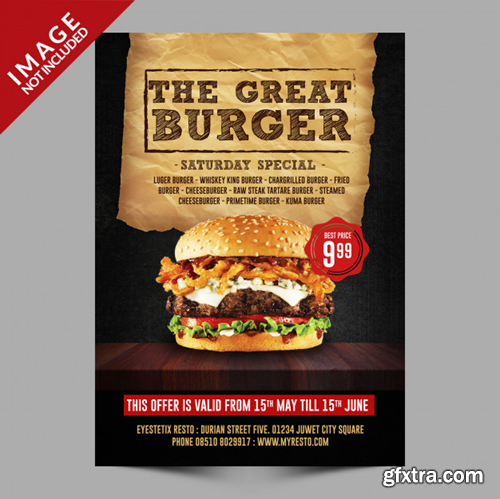 Burger flyer template Premium Psd