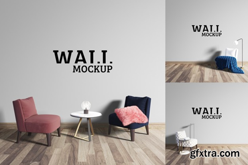 Wall mockup - cute sitting and chatting place Premium Psd