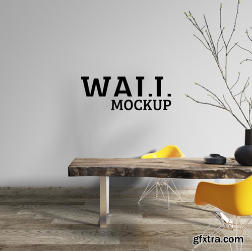 Wall mockup - workspace is decorated with a rough wooden table Premium Psd