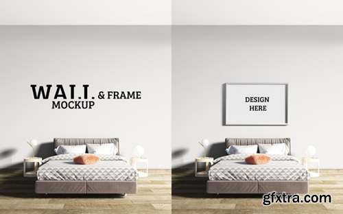 Wall and frame mockup bedroom has a bed with brown as the mainstream Premium Psd