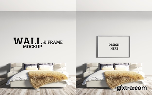 Wall and frame mockup bedroom has a large bed Premium Psd