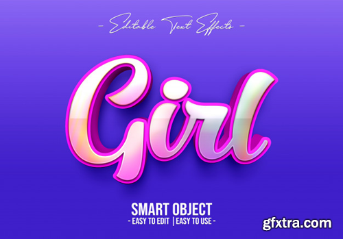 3D Girl Text Style Premium Psd