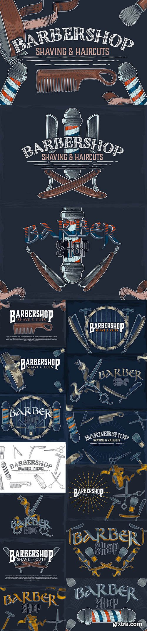 Hand-Drawn Vector Barber Shop Banners Premium Illustrations