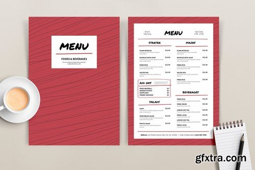 Menu Red Lines Template
