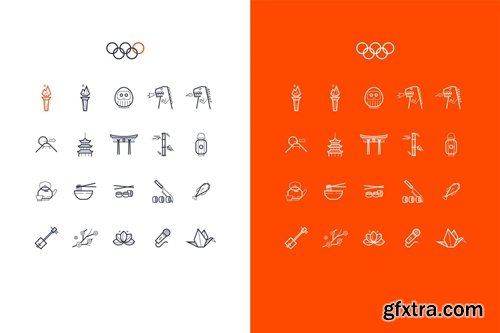 vector japanese line art icons set for Tokyo 2020
