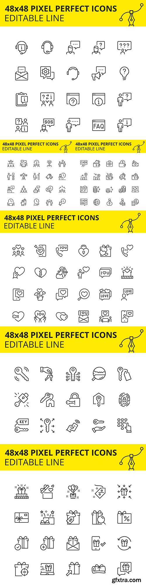 Pixel perfect editable icons simple design