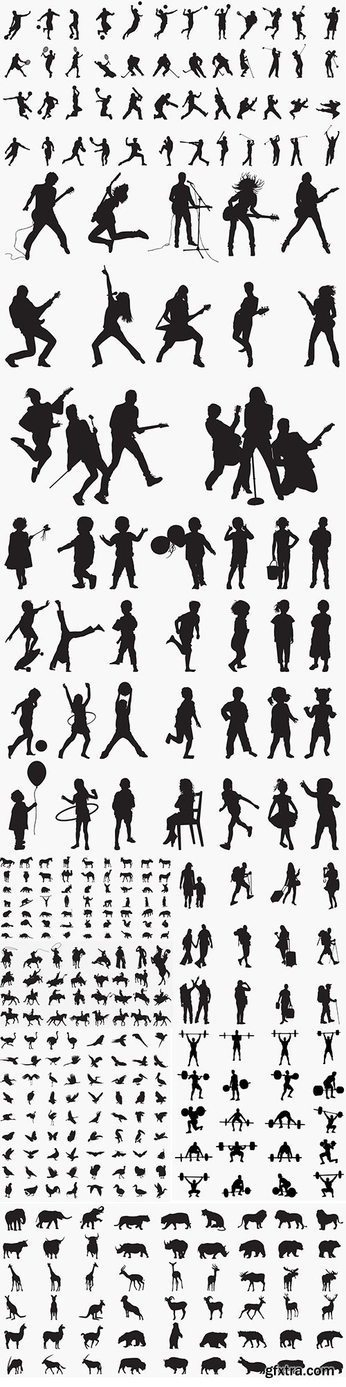 Silhouettes with People and Animals Vector Set