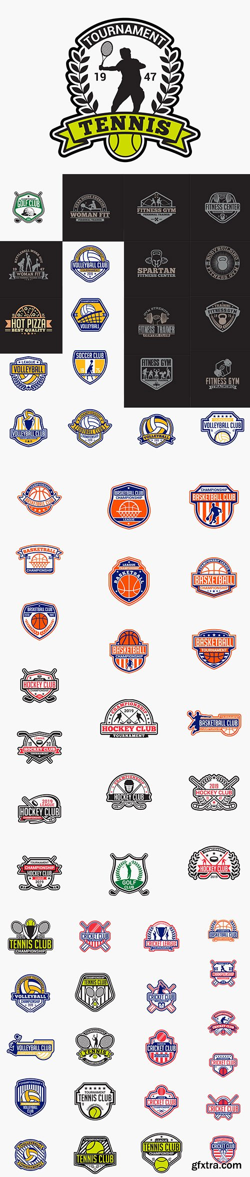 Volleyball, Tenis, Fitness, Golf, Hockey, Cricket and Basketball Club Badge Collections
