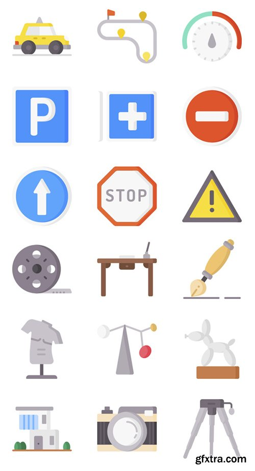 100 Driving School and Art Design Vector Icons Set