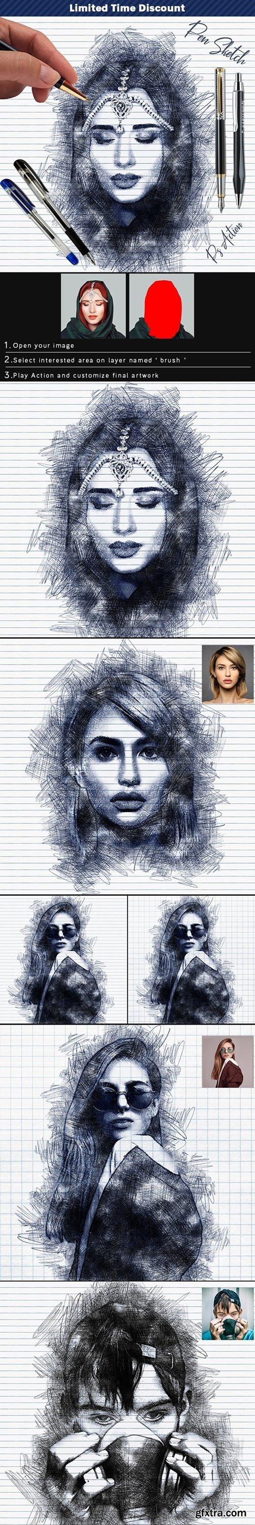 GraphicRiver - Pen Sketch Photoshop Action 25774811