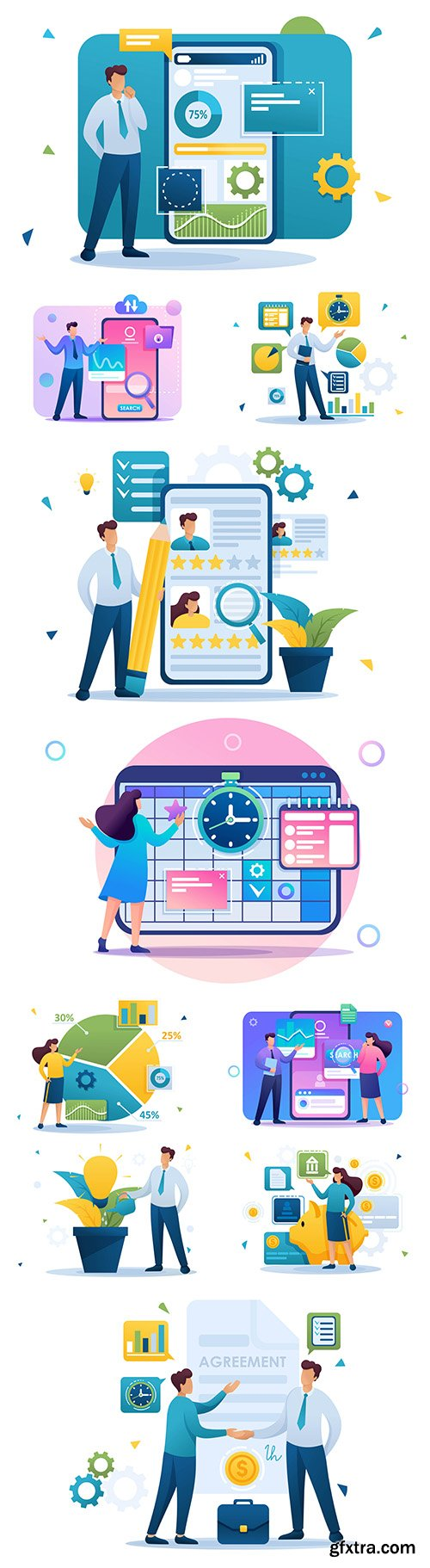 Business people time management flat concept