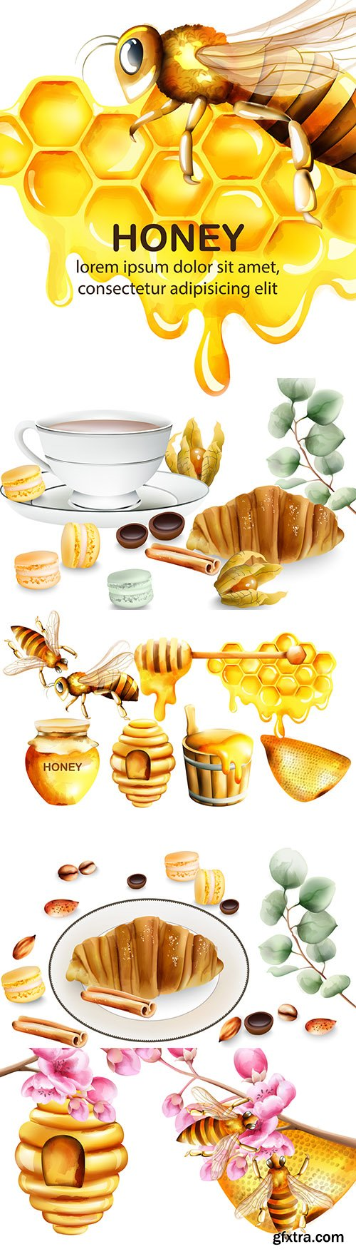 Honey with bees and delicious croissant for tea party
