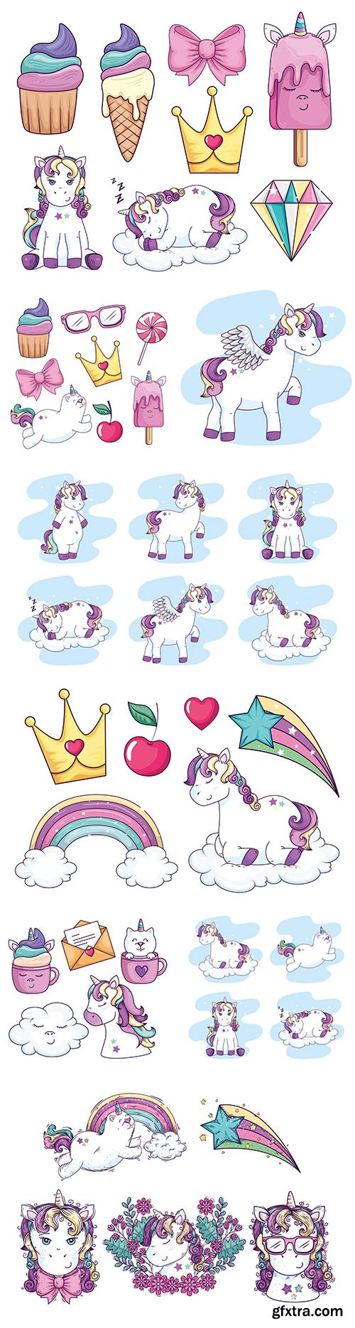 Unicorn with wings and sweets collection illustrations