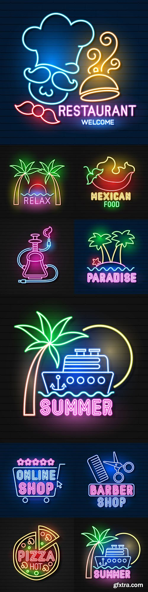 Neon signage and logo vector for your design