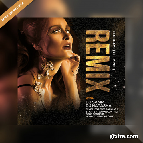 Dj remix party square flyer Premium Psd