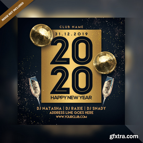 Happy new year celebration party flyer Premium Psd