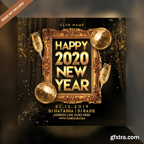 Happy new year 2020 party flyer Premium Psd