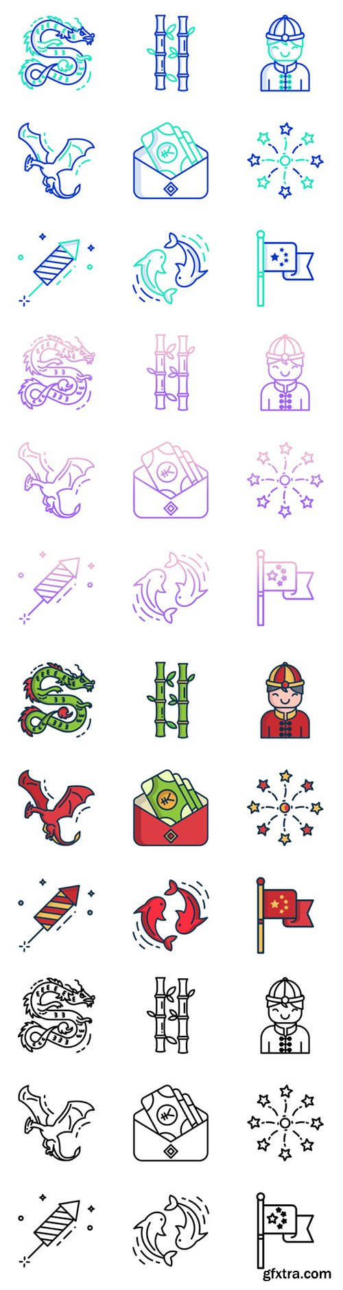 100 Outline Gradient, Outline, Outline Colour and Linear Colour Vector Icons Pack