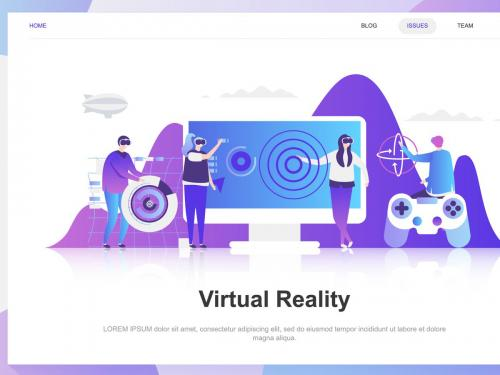Reality Flat Concept Virtual Augmented - virtual-augmented-reality-flat-concept