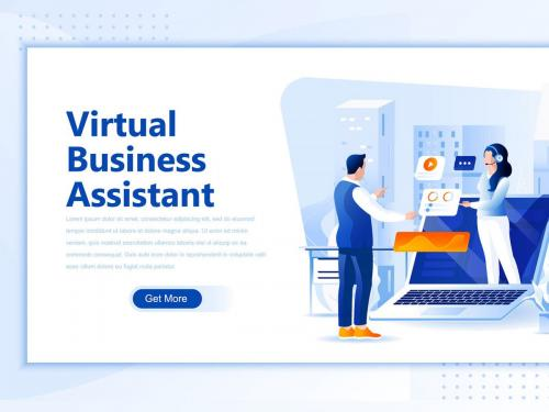 Virtual Business Assistan Flat Landing Page Header - virtual-business-assistan-flat-landing-page-header