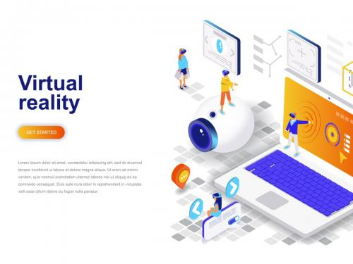 Virtual Reality Isometric Concept - virtual-reality-isometric-concept