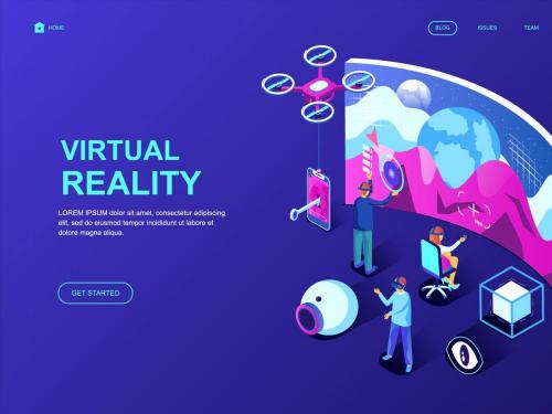 Virtual Reality Isometric Landing Page Template - virtual-reality-isometric-landing-page-template