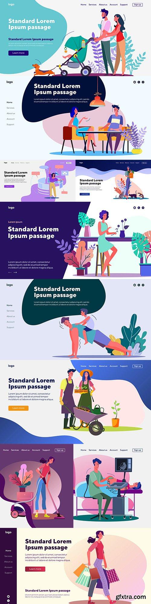 People landing page flat template website design