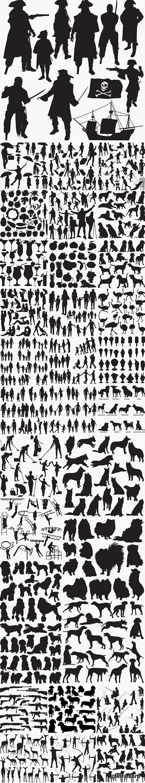 32 Set in 1 Bundle - Vector Black Silhouettes