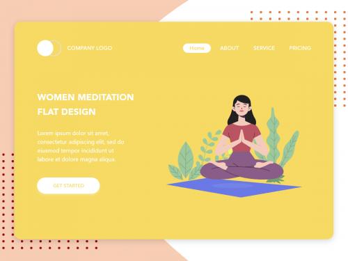 Women Meditation flat design concept for Meditation app - women-meditation-flat-design-concept-for-meditation-app