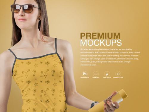WOMEN'S CAMISOLE SHIRT MOCKUPS SET - women-s-camisole-shirt-mockups-set
