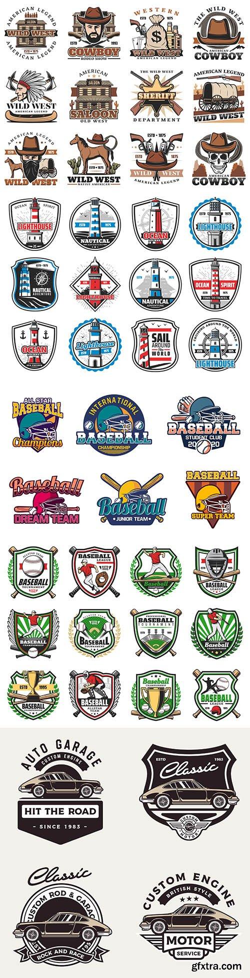 Cowboy, sports, beacon design emblems and logos