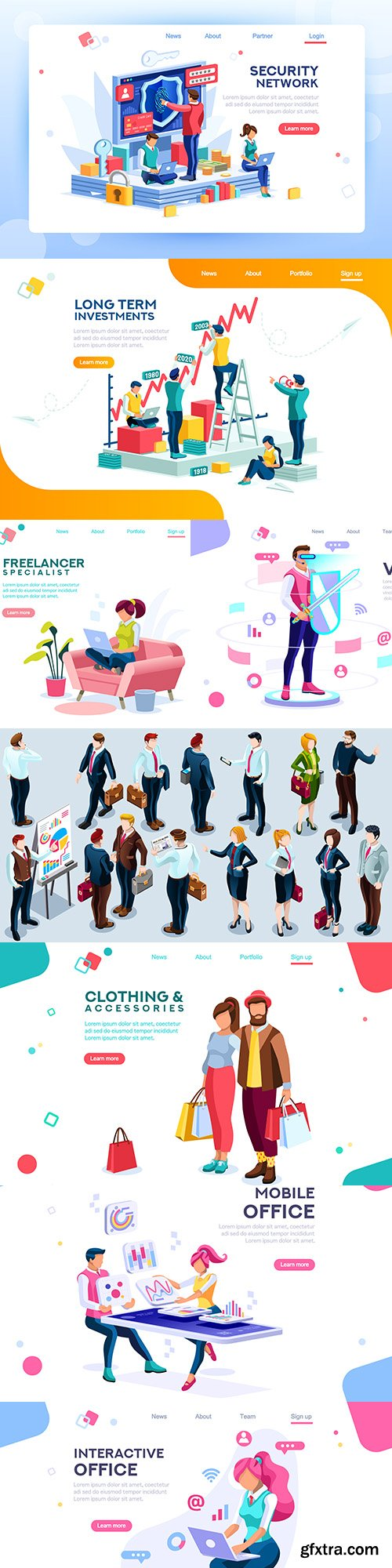 People isometric landing page template design