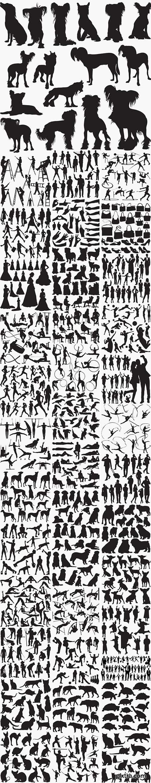 39 Set in 1 Bundle - Vector Black Silhouettes