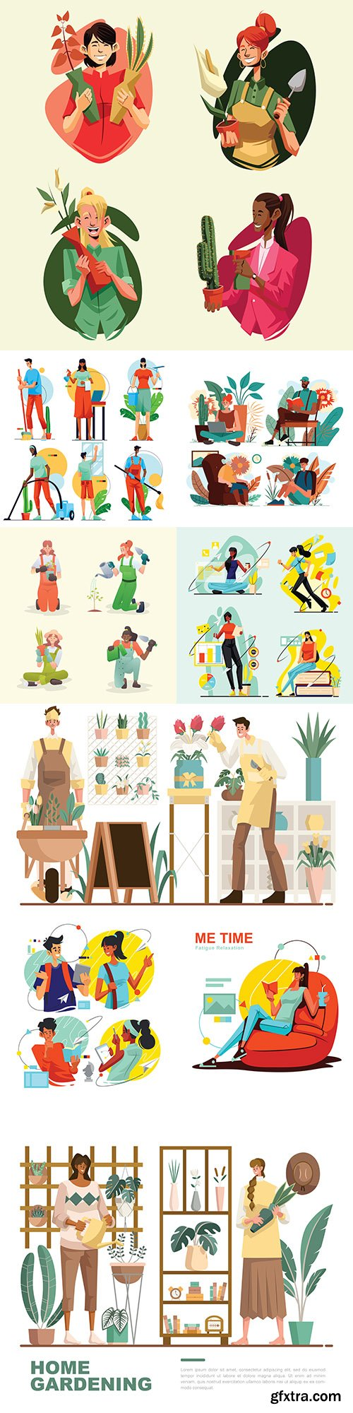 People lifestyle and work illustration collection