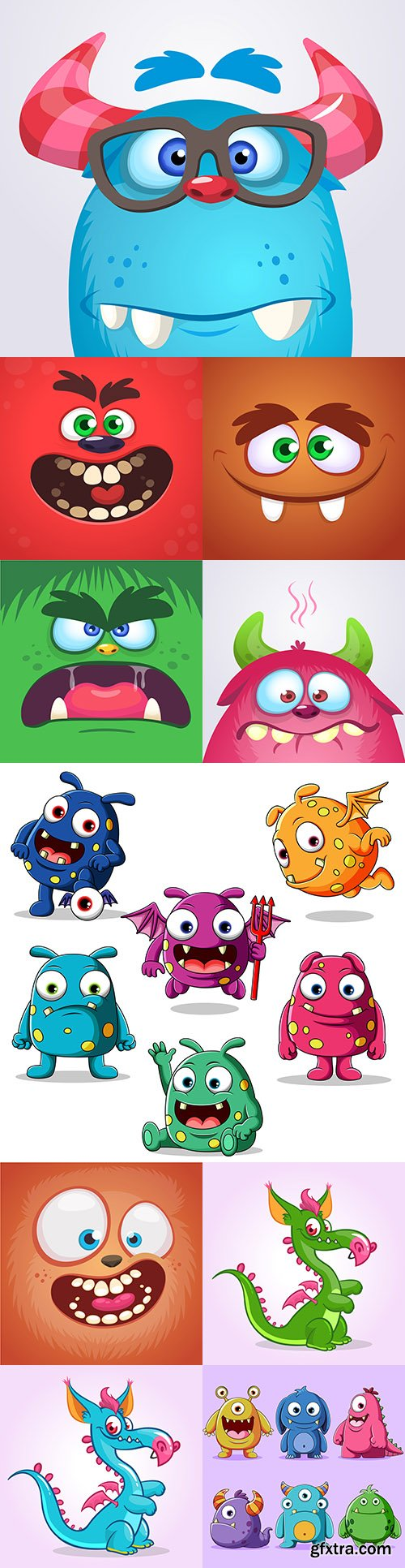 Funny cartoon monsters illustration