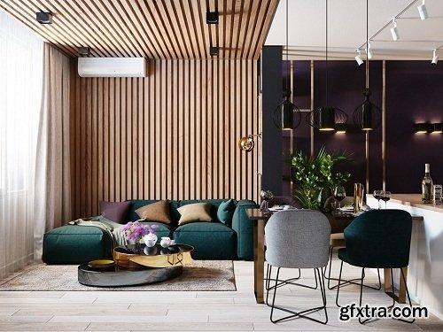 Interior Scene Living Room & Kitchen 02