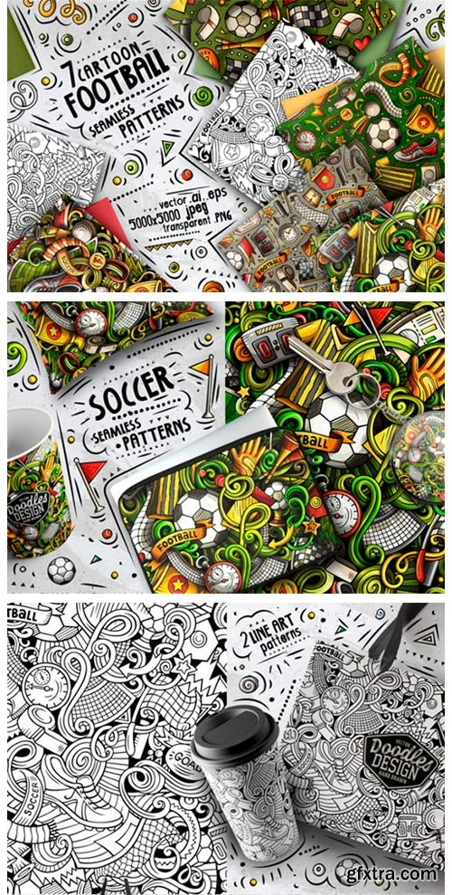 7 Soccer Doodle Seamless Patterns 2981842