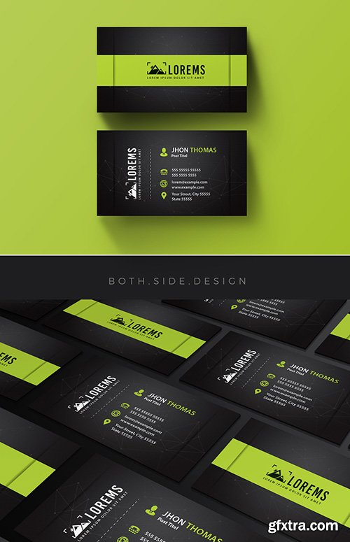 Business Card Layout with Lime Green Accents 204135526