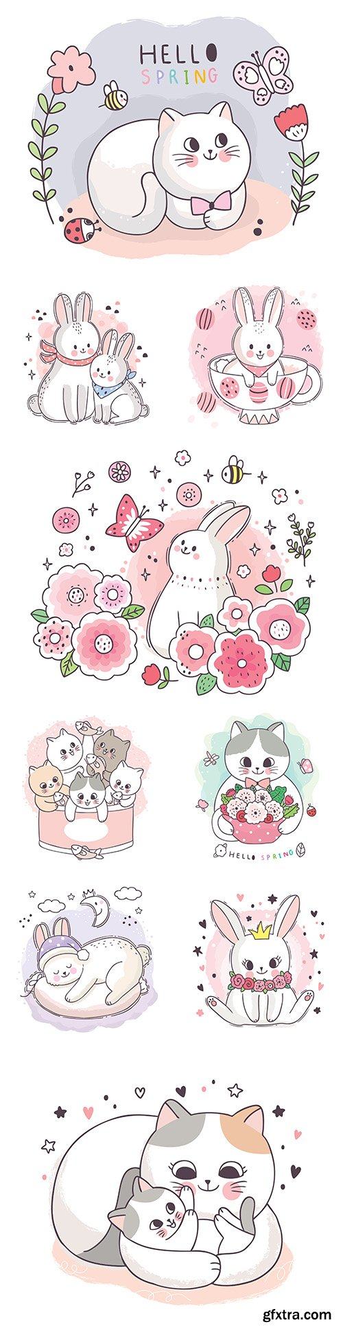 Cute kitten and Easter bunny cartoon painted illustrations