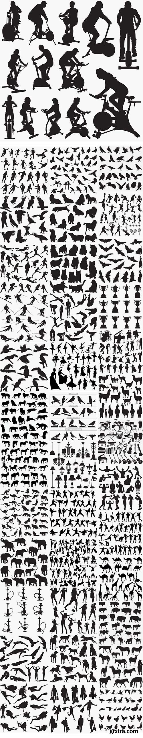 38 Set in 1 Bundle - Vector Black Silhouettes