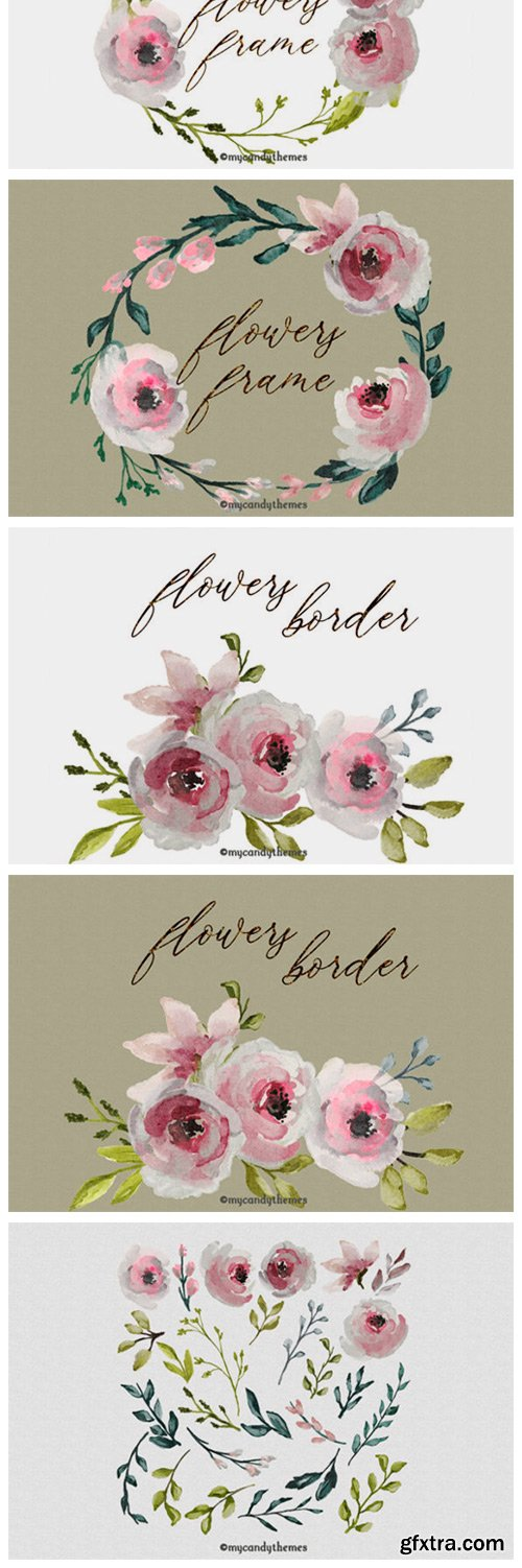 Flowers Watercolor Clipart Floral Wreath 2999785