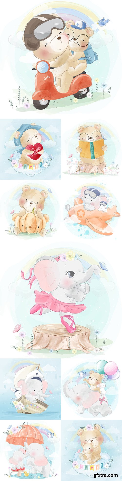 Baby elephant and bear funny drawn illustrations
