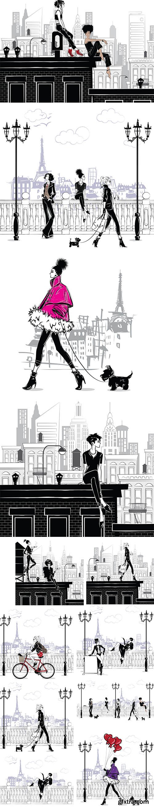 Fashion Girls in the City Style Sketch Illustrations