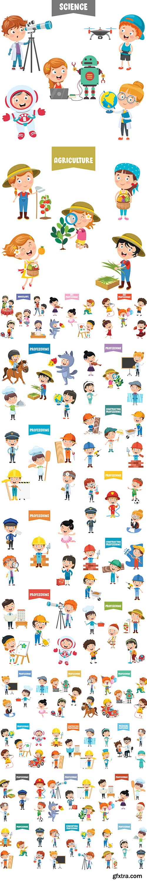 Cartoon Characters Different Professions Set